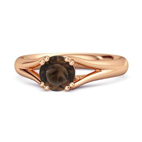Shine Jewel Multi Elija su Piedra Preciosa Solitario 0.25 Ctw Redondo Anillo De Plata De Ley 925 Chapado En Oro Rosa (9, Cuarzo Ahumado)
