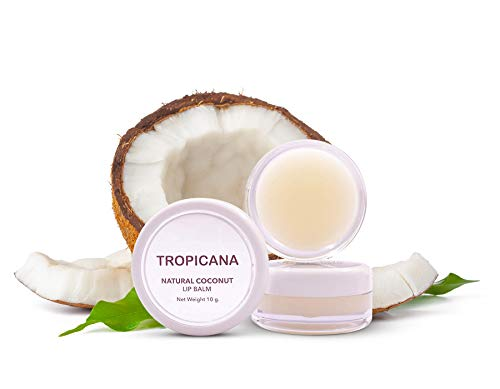 Tropicana Oil Naturkosmetik Beauty 2 x Lippenbalsam Coconut Delight 10g | Kaltgepresstes Natives Bio-Kokos Öl, Kakaobutter & Shea Butter Lippenpflege Bio für trockene Lippen | Lip Balsam Lippen Balm