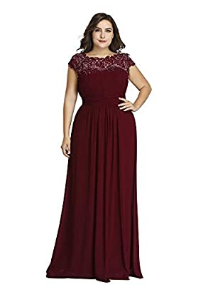 Ever-Pretty Womens Floral Lacey Plus Size Long Maxi Wedding Guest Bridesmaid Dresses Burgundy US 16