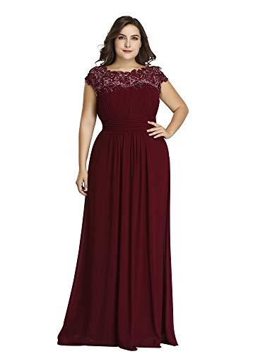 Ever-Pretty Womens Plus Size Floor-Length Black Tie Evening Party Dresses Burgundy US 22