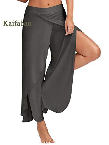 4-way stretch yoga-legging,Damesbroek met wijde pijpen, grote maten, split fitness sportswear-E_XXL,Dames Sexy casual herfst losse tops met lange mouwen