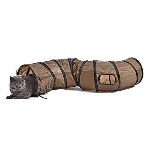 XLLYBZ Cat Pet Tunnel TUJE TUJO PLAJOS TÚNELES INTERACTIVOS S-Formado en Forma de túnel Curvado del pasaje con 2 Agujeros para pequeñas Mascotas Conejos Puppy Kitty