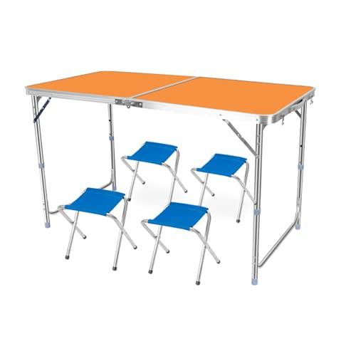 QLWY Mesa para Camping Plegable, Mesa de Balcón Aluminio 4 sillas, Altura Regulable Durable, para al Aire Libre picnics Dentro y Fuera Playa Senderismo Viajes Pesca (Orange)