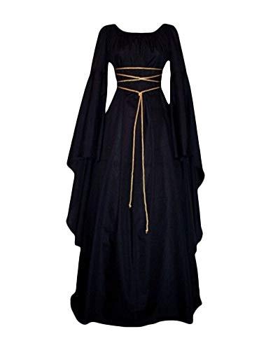 Mujer Mangas Largas Cuello Redondo Vestido Medieval De Señora Largo Vestido Renacimiento Gótico Vestido Negro M
