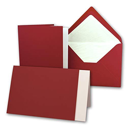50 Sets - großes Kartenpaket mit 50 Faltkarten, passenden Einlegeblättern in creme & 50 gefütterten Umschlägen (gerippt) DIN B6-12 x 17 cm - 120 x 170 mm in Dunkelrot
