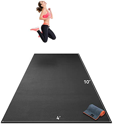 """Premium Extra Large Exercise Mat - 10' x 4' x 1/4"""" Ultra Durable, Non-Slip, Workout Mats for Home Gym Flooring - Plyo, MMA, Cardio Mat - Use with or Without Shoes (120"""" Long x 48"""" Wide x 6mm Thick)"""