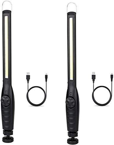2 PIÈCES Lampe de Travail LED Magnétique Portable Professionnelle pour Atelier, Lampe de Travail avec Base, Lampes d'Inspection pour Camping en Plein Air Randonnée (Noir)