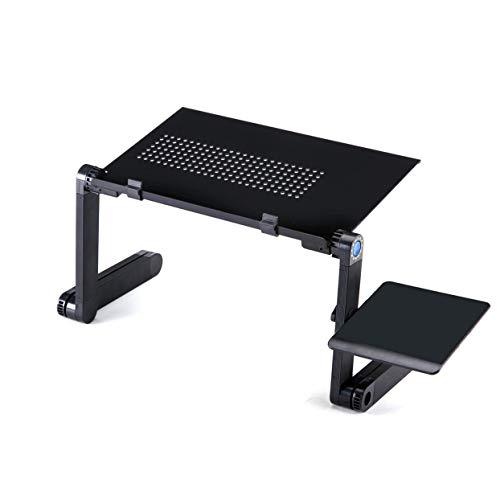Uniquelove Escritorio de Mesa para computadora portátil - Soporte Ajustable para computadora portátil - Soporte ergonómico para Libros con Bandeja de Desayuno - Negro