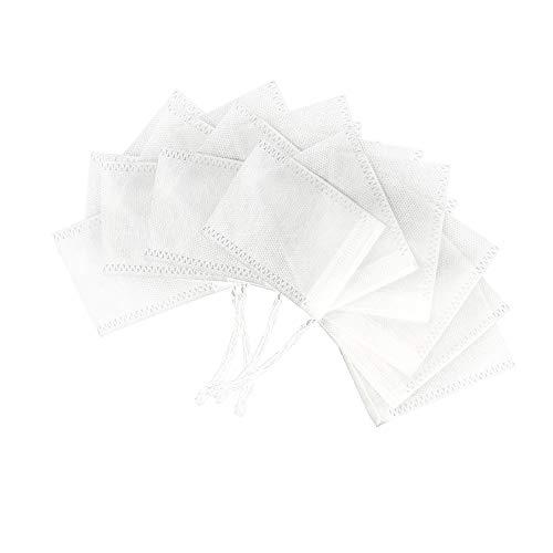 Ealicere 100 Stück 7cm×9cm Teabag Teebeutel feine Teefilter, Drawstring Teebeutel Filter, Leere Teebeutel Taschen für Tee Obsttee Teeblumen Gewürz