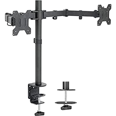 """VIVO Dual LCD Monitor Desk Mount Stand Heavy Duty Fully Adjustable fits 2 /Two Screens up to 27"""" (STAND-V002)"""
