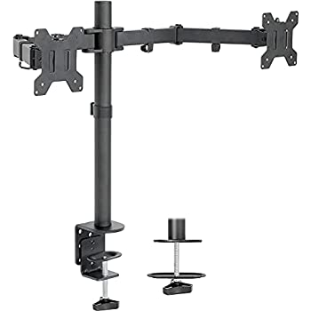 VIVO Dual LCD LED 13 to 27 inch Monitor Desk Mount Stand Heavy Duty Fully Adjustable Fits 2 Screens STAND-V002