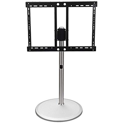 dehong Stainless Steel TV Floor Box Shelf for 40—85 Inches TVs,White TV Floor Table Top Stand Up to 70KG Tilting Height Adjustable