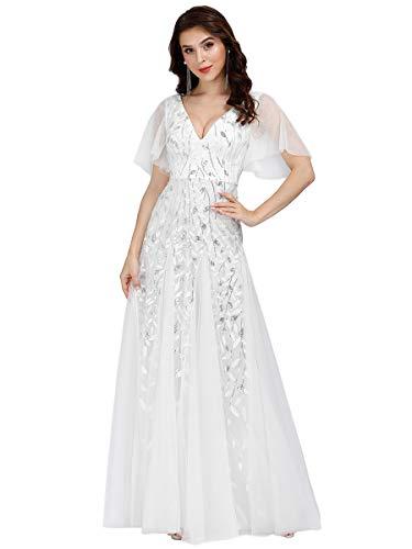 Ever-Pretty Vestido de noche de fiesta de boda de manga corta con cuello en V para mujer 0734, Orquídea/Jungle Tropic, 12