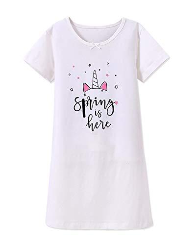 DianShaoA Prinzessin Netter Druck Nachthemden Für Mädchen Kurzarm Kinder Schlafanzüge Für 3-12 Jahre 86537Weiß 110