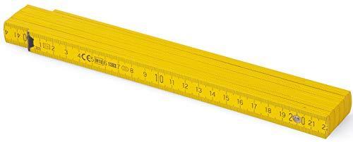 Metrie™ BL52 Holz Zollstock/Zollstöcke  2m langer Gliedermaßstab, Maßstab Meterstab mit Duplex-Teilung - Gelb PAN012