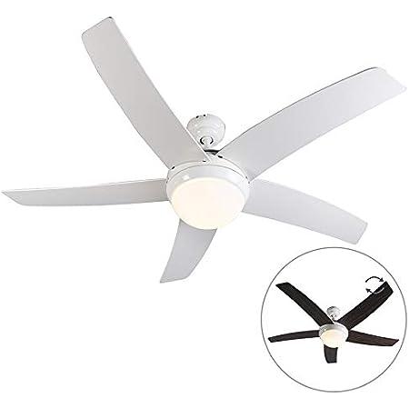 Qazqa Ventilateur de Plafond avec télécommande avec lumiere   Lampe de Ventilateur Moderne - Cool Lampe Naturel Blanc - E14 - Convient pour LED - 2 x 40 Watt