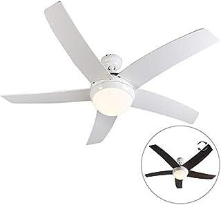 Qazqa Ventilateur de Plafond avec télécommande avec lumiere | Lampe de Ventilateur Moderne - Cool Lampe Naturel Blanc - E1...