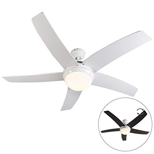QAZQA Ventilatore da soffitto con luce e telecomando cool - Moderno - Vetro,Legno,Acciaio - Bianco - Tondo Max. 2 x 40 Watt