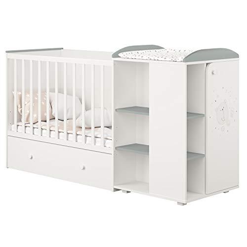 Polini Kombi-Kinderbett French 800 Teddy mit Kommode weiß-grau,2277.55