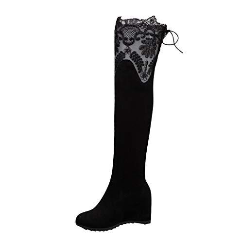 Femany Damen Stretch Overknee Stiefel mit Keilabsatz und Schnürung Hinten Wedges Boots Schuhe (Schwarz 1,41)