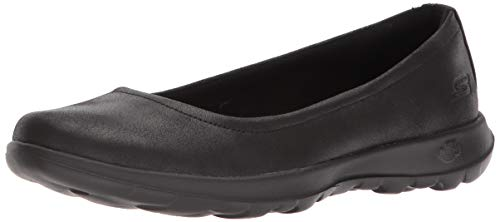 Skechers womens Go Walk Lite-15395 Ballet Flat, Black, 7.5 US
