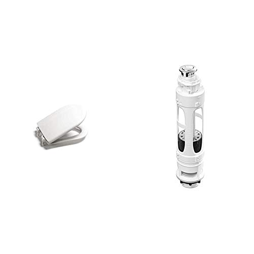 Roca A801360004 Pint Meridian - Asiento de inodoro, Blanco + A822502100 Mecanismo de doble descarga con 2 pulsadores, Blanco
