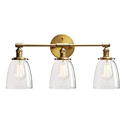 Permo Vintage Industrial Antique Three-Light Wall Sconces with Oval Cone Clear Glass Shade