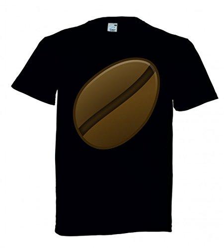 T-Shirt Bohne- Kaffee- ICON- Ikonen- MATT- Symbol in Schwarz für Herren- Damen- Kinder