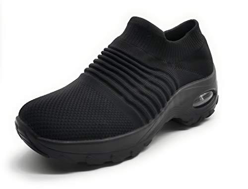 Zapatillas Deportivas Mujer Calcetin Elasticas sin Cordones Muy Comodas Transpirable Antideslizante para Correr Andar Trabajar Black 38