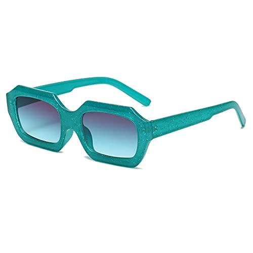 RETRO PEQUEÑO POLIGÓN Gafas de sol mujeres moda retro brillante lente rectángulo gafas señora sol sombras UV400