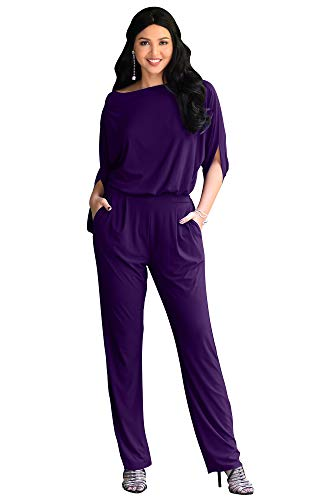 KOH KOH Womens Short Sleeve Sexy Formal Cocktail Casual Cute Long Pants One Piece Fall Pockets Dressy Jumpsuit Romper Long Leg Pant Suit Suits Outfit Playsuit, Indigo Blue Purple M 8-10
