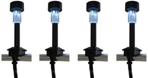 Naeve Leuchten LED Solar 4-er Set / 1x LED weiß mit 1x NiMH/Typ AAA / 600 mA / 1,2 V inklusive Befestigungsband/Höhe 21 cm/Durchmesser 5 cm/Material Kunststoff, schwarz 4076322