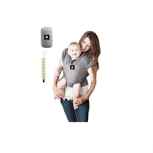 Wonder Casa Fascia Porta Bebé in Cotone Elasticizzato per Neonati e Bambini da 0 a 18 Mesi Fino a 15Kg e Portaciuccio