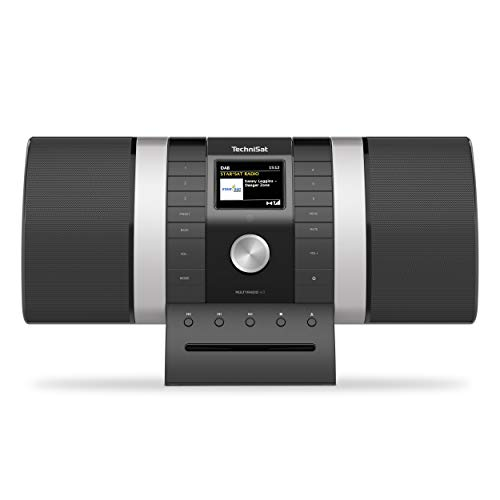 TechniSat MULTYRADIO 4.0 - Internetradio (WLAN Radio, DAB+, UKW, Alexa Sprachsteuerung, Spotify, Bluetooth, CD-Player, USB, Farbdisplay, Musikstreaming, 2 x 10 Watt Stereo Lautsprecher) schwarz/silber
