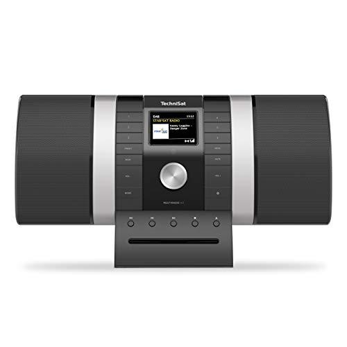 TechniSat MULTYRADIO 4.0 - Internetradio (WLAN Radio, DAB+, UKW, Alexa Sprachsteuerung, Spotify, Bluetooth, CD-Player, USB, Farbdisplay, Musikstreaming, 2 x 10 Watt Stereo Lautsprecher) schwarz/silber