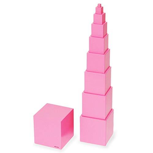 【MONTE Kids】モンテッソーリ教具 -- ピンクタワー 大 教材用サイズ -- Montessori 知育玩具教具 幼児早期...
