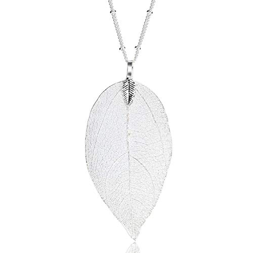 Women's Long Leaf Pendant Necklaces Real Filigree Autumn Leaf Fashion Jewellery Gifts (Bright Silver)