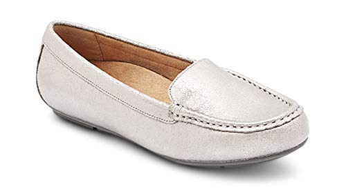 Vionic Women's Debbie - Driver Moccasin Flats with Concealed Orthotic Arch Support Pewter 8 Medium US