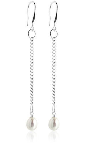 2LIVEfor perlas colgante de plata 925 pendientes con plumas de perlas de agua dulce con brillantes