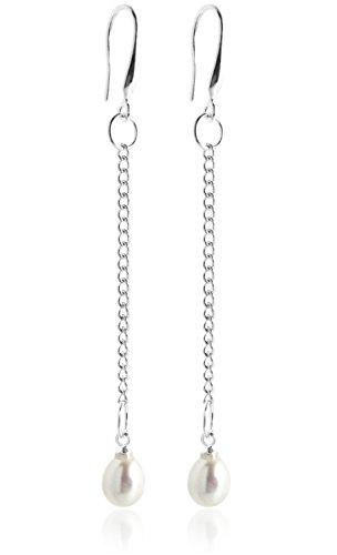 2LIVEfor Perlenohrringe Ohrringe Perlen lang Hängend Silber Versilbert mit echten Süßwasserperlen Weiß Tropfenform Ohrhänger mit langer Kette schlicht Stab