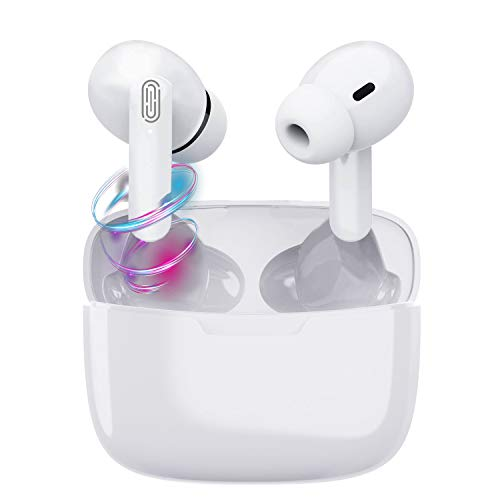 Auricular Bluetooth 5.1, Auriculares inalámbricos Bluetooth In-Ear Mini Auriculares, reducción del Ruido estéreo 3D HD IPX5 Resistentes al Agua for Samsung/iOS/Android/Huawei/Xiaomi/Blanco