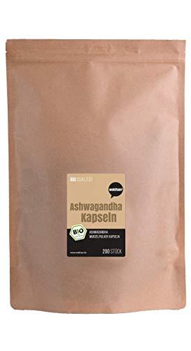 Wohltuer Bio Ashwagandha Kapseln (200 Stück) Mind. 5{fcb69a9fd865038e931af8e7d149b3302635885bdb6921881c65bc6668660e3a} Withanolide | Original Withania Somnifera | Bio & Vegan