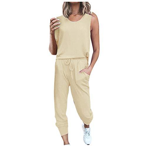 TOPSELD Damen 2 Stücke Sets Outfit Sport Yoga Fitness Lose Jogginganzug mit Kordelzug Beiläufig T-Shirt Top und 7/8 Länge Hose(Khaki,S)