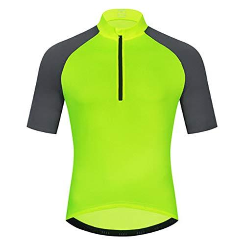 Hombre Maillot Ciclismo Manga Corta,Transpirable Secado Rápido Ropa Bicicleta,Ropa Ciclismo Cremallera Completa,con 3 Bolsillos Traseros Ropa Ciclismo,para Montañismo,Entrenami(Size:XXL,Color:Verde)
