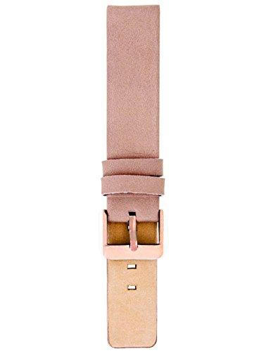 Oozoo Armband Uhrenband Uhrenarmband Leder Lederband mit rosefarbener Dornschließe Pinkgrau - 12 mm