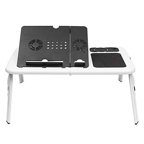 Fransande - Mesa de ordenador portátil multifuncional, plegable, de pie, soporte de bandeja para ordenador portátil sobre cama de refrigeración USB (blanco)