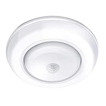 TOOWELL Motion Sensor Ceiling Light Battery Operated Wireless Motion Sensing Activated LED Light White 180 Lumen Indoor for Entrance Stairs Hallway Basement Garage Bathroom Cabinet Closet