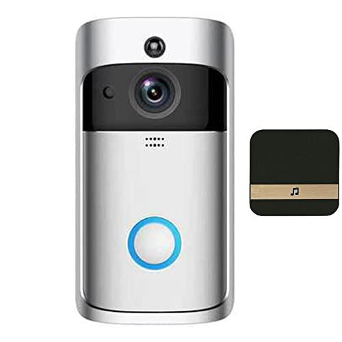 HMYLI Campanello Video con Fotocamera, Campanello Intelligente Wireless HD, Angolo di visualizzazione di 180 Gradi, rilevatore di Movimento,Bianca