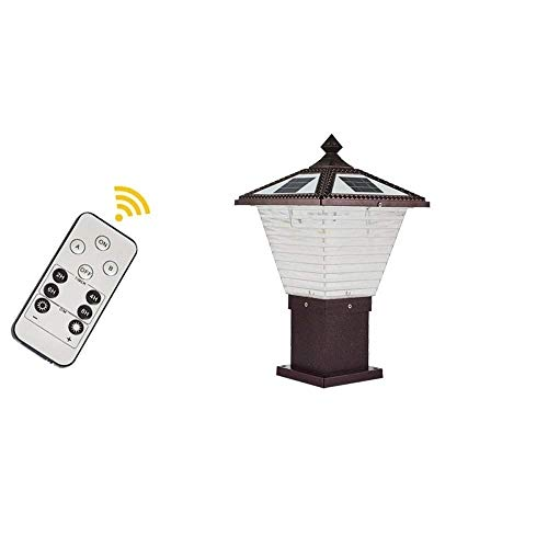 FWQ Outdoor Post Lights Fixture IP65 Vintage Door Column Lamp with Remote Control Pole Acrylic Lantern Waterproof LED 2-Colors Dimming Courtyard Balcony Villa Decorative Pillar Light