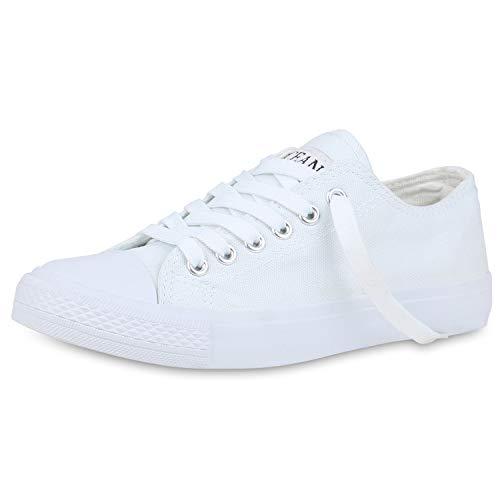 SCARPE VITA Damen Sneaker Low Flache Basic Stoff Schuhe Sportliche Schnürer Bequeme Freizeitschuhe 193031 Weiss Weiss Total 38